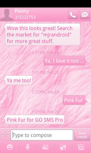 Pink Fur GO SMS Theme