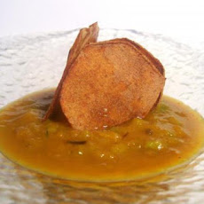 Leek & Delicata Squash Soup With Caramelized Apple Croutons