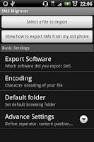 Screenshot of SMS Migrator