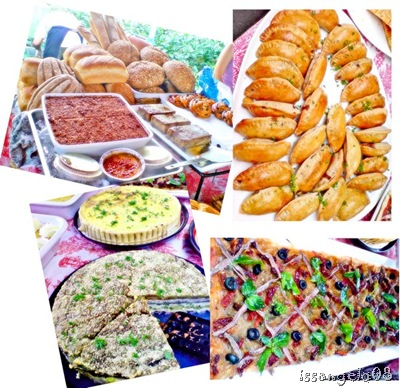 Yummy french food c/o Le Cuisine! Variety of french breads, turnovers, pies and quiches, and pizzas!