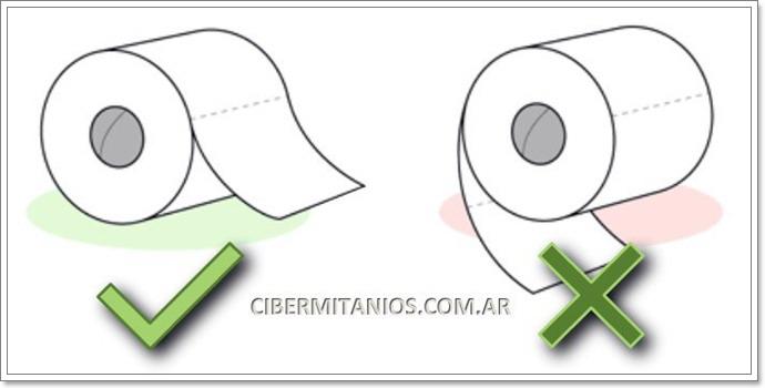formas de poner el rollo de papel higiénico
