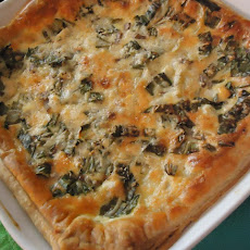 Ramp-New Potato-Asiago Tart