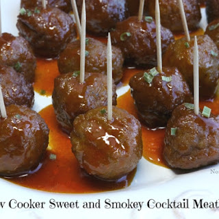 Slow Cooker Sweet and Smokey Cocktail Meatballs