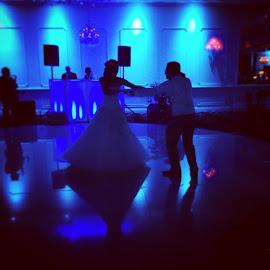 Silhouette shot in a way :-) by Julie Dabour - Wedding Reception ( jessandchriswedding, dancing, weddings, weddingreception, adorable, brideandgroom )