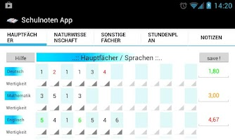 Screenshot of Schulnoten App
