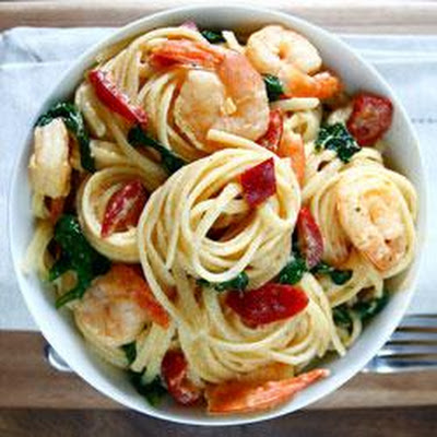 Creamy Goat Cheese Pasta with Spicy-Sweet Peppers & Shrimp