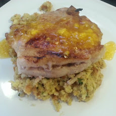 Grapefruit & Mango Sweet Glazed Apple Stuffed Pork Chops
