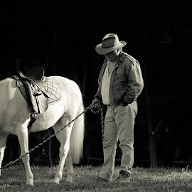 Pony Boy by Lu Townsend - Animals Horses ( animals, horses, black and white, man )