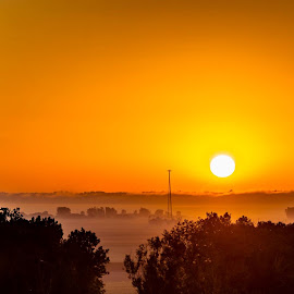Distant Fog In The Sunrise by Dallas Brixey - Landscapes Sunsets & Sunrises (  )