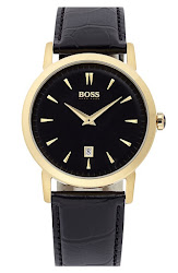 BOSS HUGO BOSS Round Leather Strap Watch, 40mm
