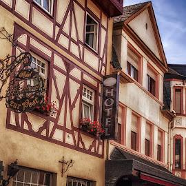 Oberstrasse in Bacharach by Ole Steffensen - City,  Street & Park  Street Scenes ( rhine, street, rhine-valley, half-timbered, germany, oberstrasse, hotel, bacharach )