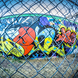 Spray Art by Cali Original - Digital Art Abstract ( fence, spray, tag, graffiti, arizona, art, paint, tagger )