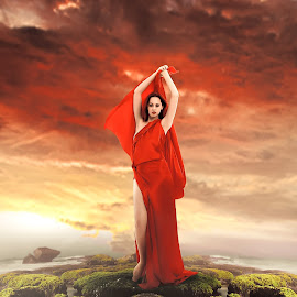 Red lady.. by Arnasphoto Sorowako - Illustration People ( model, red, woman, pretty, portrait )