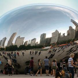 The Bean by Jennifer Bacon - City,  Street & Park  Street Scenes ( skyline, bean, park, chicago, view )