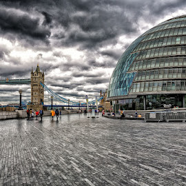 A Storm is Brewing... by CK Lam - City,  Street & Park  City Parks ( city hall, thames river, england, uk, london, tower bridge, united kingdom )