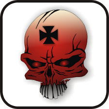 Skull IronCross doo-dad red