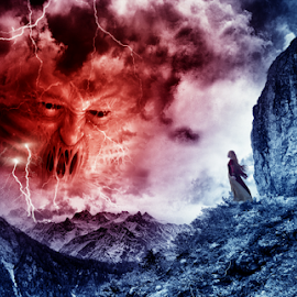 Nature's Fury by Sambit Nandi - Digital Art Places ( photomanipulation, monster, clod, rocky, art, angry, eavy, digital, absract, fury, lightning, mountains, red, sky, surreal, photoshop )