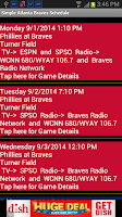 Screenshot of Schedule Atlanta Braves fans