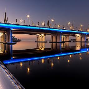Warm Morning  by Wissam Chehade - Buildings & Architecture Bridges & Suspended Structures ( cityscapes, water, lights, mydubai, dubai, uae, reflections, long exposure, sunrise, morning, bridges )