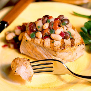 Pork Chops With Black-And-White Salsa