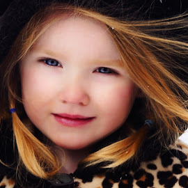 Perfection in Winter by Cheryl Korotky - Babies & Children Child Portraits ( child, leopard print, model, red hair, a heartbeat in time photography, fur hat, amazing faces, blue eyes, nevaeh, beautiful children )