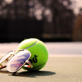 Tennis Ball in Style by Bryan White - Sports & Fitness Tennis ( aviators, stylish, sports, tennis, sunglasses, tennis ball )