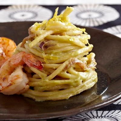 Lemon-Avocado Spaghetti With Shrimp From 'Pasta Modern'