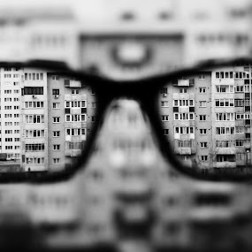 urban by Andi Topiczer - Black & White Abstract ( abstract, urban, blackandwhite, 2014, canon 60d, dof, blur, bokeh, brasov )
