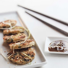 Mini Fried Onion Cakes with Peanut Sauce
