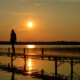 Sunset, Bemidji, Minnesota by Kathleen Koehlmoos - Novices Only Landscapes ( bemidji, wolf lake, minnesota, girl, gorgeous, silhouette, sunset, beautiful, lake, summertime, light, golden,  )