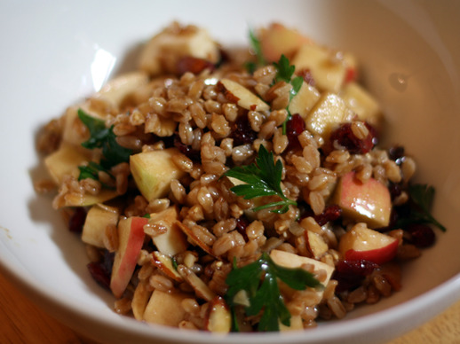 Apple, Almond, and Smoked Mozzarella Farro Salad