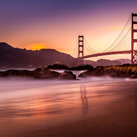 SUNSET ON GOLDEN GATE by Julio Gonzalez - Buildings & Architecture Bridges & Suspended Structures ( night photography, sunset, baker beach, san francisco, goldengate bridge )