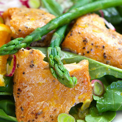 Poached Salmon with Asparagus and Orange Vinaigrette