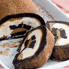 Brownie-Peanut Ice Cream Roll