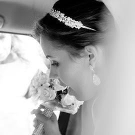 Cat by Paulo Rocha - Wedding Bride ( b&w, black and white, woman, wedding, bride,  )