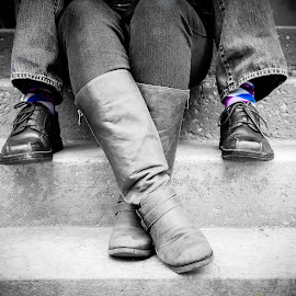 Wedding Socks by Jenna Rortvedt - People Body Parts ( shoes, black and white, argyle, socks, boots, selective color, pwc )