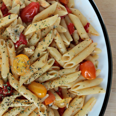 Mediterranean Pasta w/ Roasted Red Peppers and Artichokes
