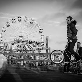 Street extreme by Danijel Grlic - City,  Street & Park  Amusement Parks ( extreme sport, blackandwhite, bmx, santa monica pier, 360 )