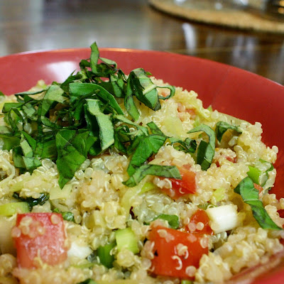 Lemon Basil Quinoa With Leek And Tomatoes