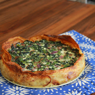 Spinach Arugula Tart with a Potato Crust