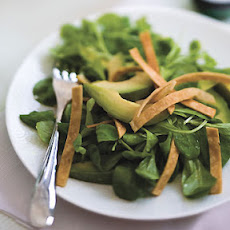 Mâche and Avocado Salad with Tortilla Strips