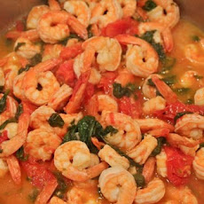Sauteed Shrimp with Summer Tomatoes and Spinach