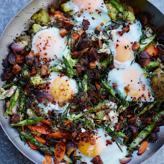 Smoked Trout and Vegetable Hash with Eggs