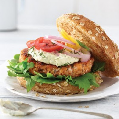 Smoked Salmon Burger with Lemon Aioli