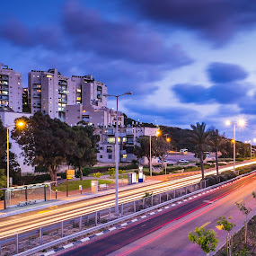 Blue Hour by Eric Base - City,  Street & Park  Street Scenes ( light streak, blue hour, fujifilm x-t1, haifa, late sunset, long exposure, fujinon, israel )