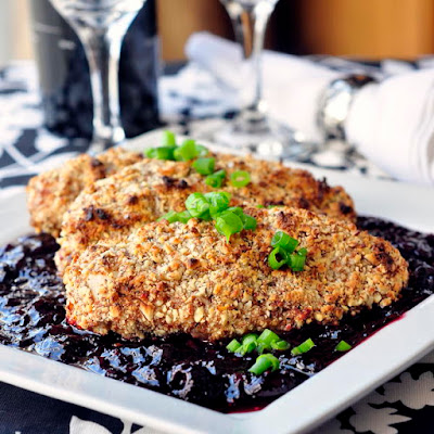 Almond Thyme Crusted Chicken with Sweet and Sour Cherry Sauce