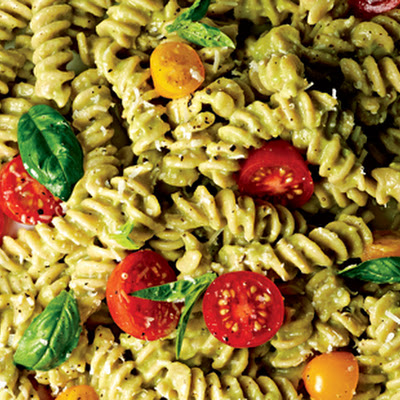 Fusilli with Basil, Tomatoes, and Avocado Sauce