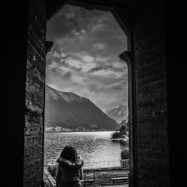 Door to the world by Kevin Spagnolo - Instagram & Mobile iPhone ( clouds, mountain, b&w, door, lake, iphone )