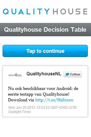 Qualityhouse Decision Table M