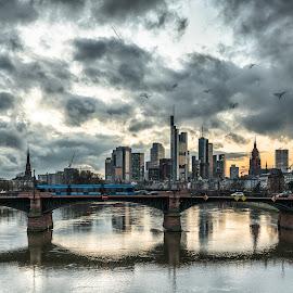 City by Selman Dogan - City,  Street & Park  Skylines ( lights, clouds, cityscapes, frankfurt, skyline, skyscraper, cloudscape, reflections, bridge, mainhattan, main, city )